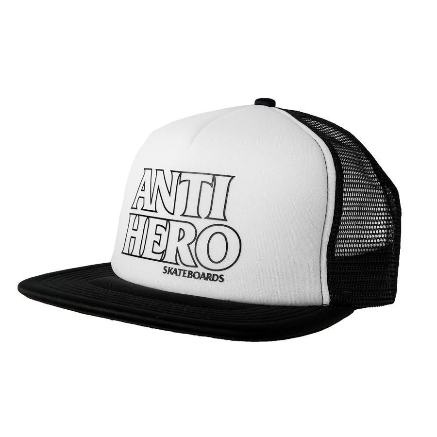 AH CAP TRKR OUTLINE HERO BK/WT - Click to enlarge
