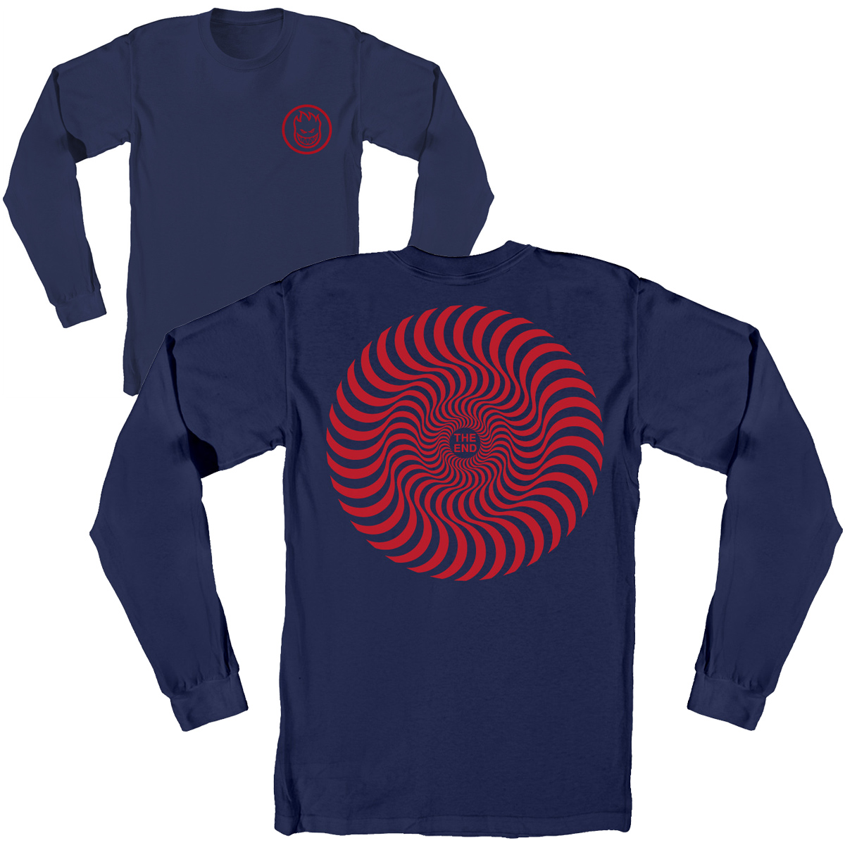 SF LS TEE CLSC SWIRL NVY L - Click to enlarge