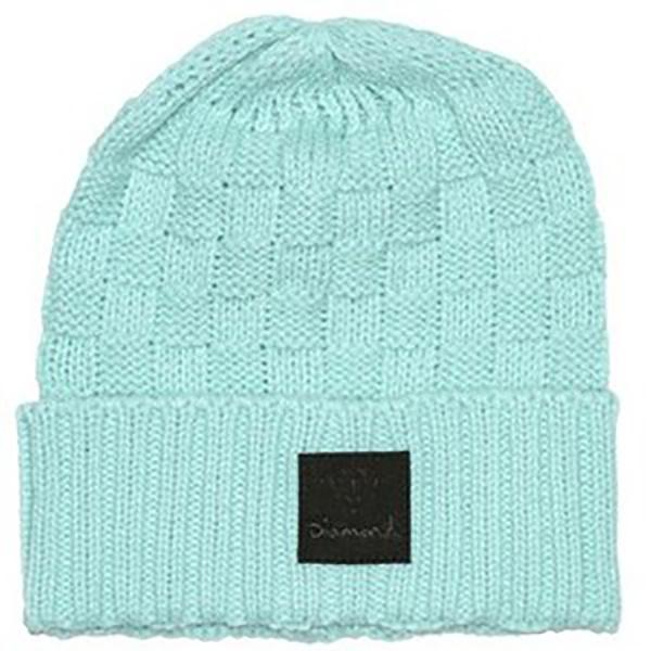 DMD BEANIE CHKR FOLD D BLU - Click to enlarge