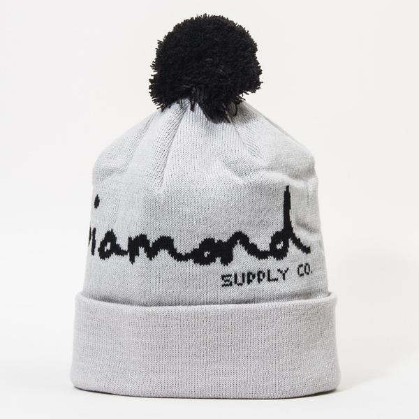 DMD BEANIE OG SCRIPT POM GRY/B - Click to enlarge