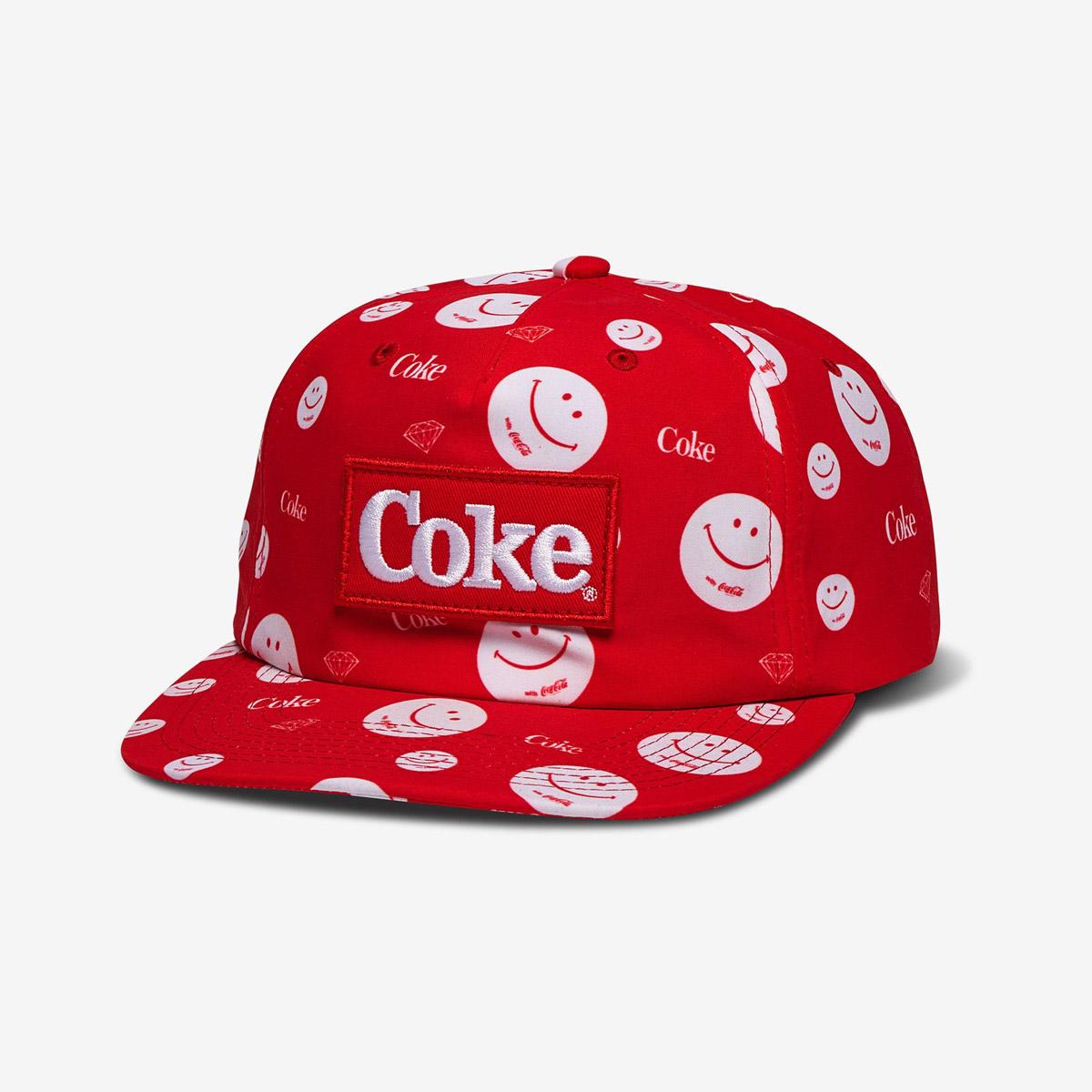 DMD CAP ADJ COKE SMILEY RED - Click to enlarge