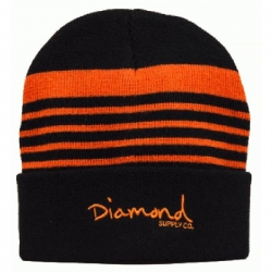 DMD BEANIE STRIPED BLK/ORG - Click for more info
