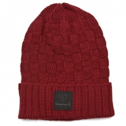 DMD BEANIE CHKR FOLD RED - Click for more info
